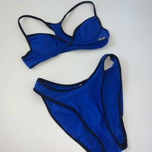 Victoria's Secret Blue Black Bikini Set 32A Med